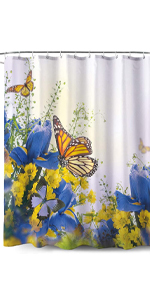Yellow Butterfly Pattern-Fabric Shower Curtain