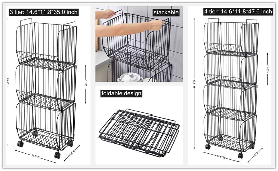 3 tier 4 tier foldable stackable wire baskets