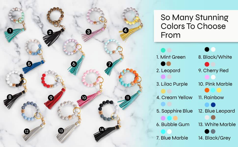 Silicone Key Ring Bracelet With Leather Tassel