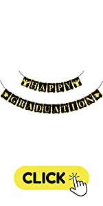 Black and Gold Happy Graduation Banner