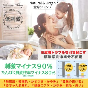 低刺激で敏感肌、乾燥肌、かゆみ、抜け毛、頭皮のフケ、抜け毛、においに。赤ちゃんの肌荒れにも