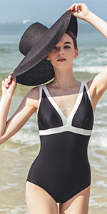 Julysand Women One Piece Deep-V Black and White Swimsuit with Chest Pad Tummy Control Swimwear