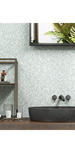 Terrazzo Wallpaper Peel and Stick Matte Light Blue Contact Paper for Bedroom Bathroom Walls Desk