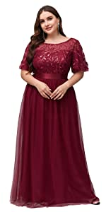 Ever-Pretty Womens Long Evening Dresses Plus size formal dresses wedding guest dresses with sleeves