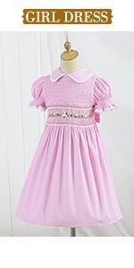 girl pink smocked dress