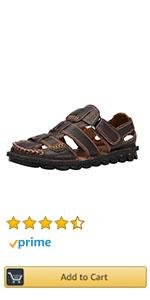 Mens Closed Toe Leather Sandals Men's Summer Outdoor Fisherman Walking Adjustable Velcr