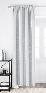 Deconovo White Blackout Curtains Wave Line with Dots Rod Pocket