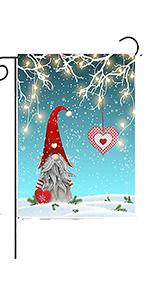 Christmas Gnome Tomte Standing On Snow Garden Flag House Banner