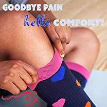 Goodbye pain, hello comfort! Image of woman pulling on compression socks.