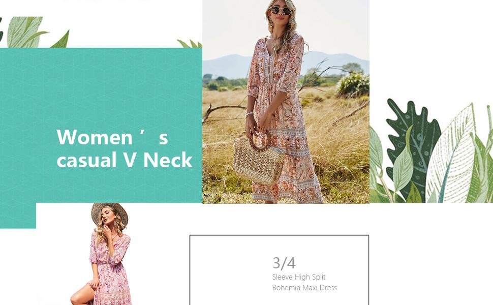 Women's Casual V Neck 3/4 Sleeve High Split Floral Print Long Dress