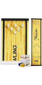 Elite Sportz Bowling Game - Indoor Table Games - Portable Set w/ Lane, 6 Pins, 2 Bowl Bearings