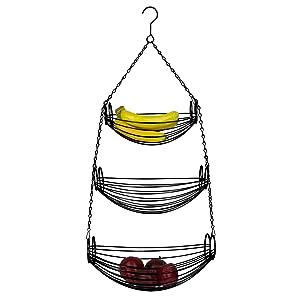 2 tier hanging fruit basket, metal hanging fruit basket, wall fruit storage, wall mounted fruit stor
