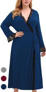 CEL102 Long Sleeve Loungewear Casual Soft Knit Maxi Robe 1XL-5XL