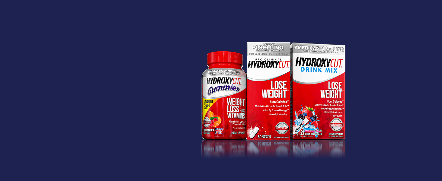 Hydroxycut Gummies, Pro Clinical Hydroxycut and Hydroxycut Drink Mix
