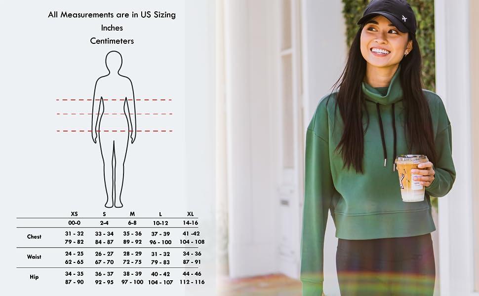 getaway cropped sweatshirt size chart