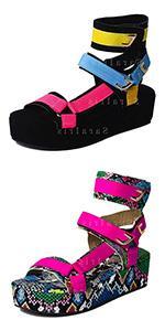 platform sandals for women open toe wedge sandals ankle strap flatform sandals