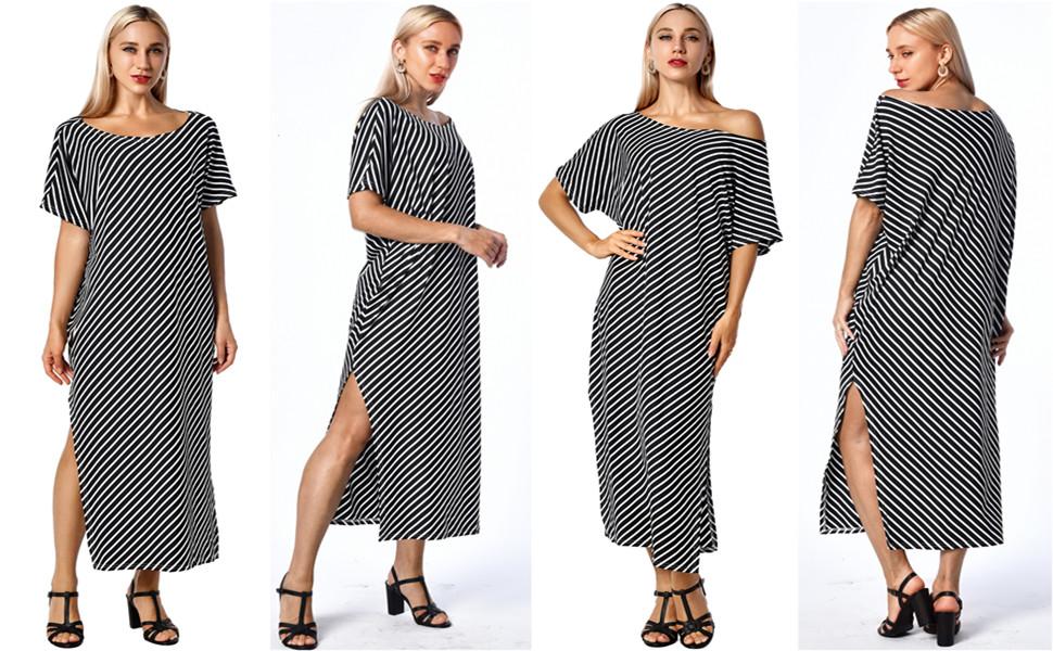 Black Striped Maxi Dress Summer Long Dresses