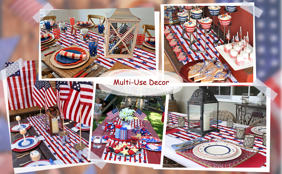Independence Day Table Runner 4th of July Table Decorations Holiday Linens (4)