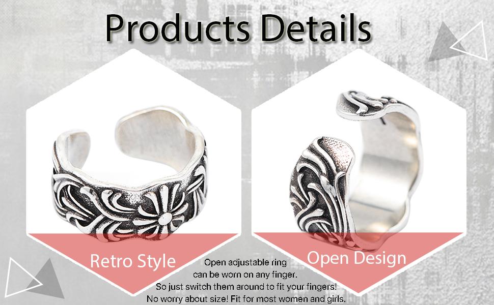 Retro Stainless Steel Adjustable Rings