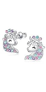 unicorn earrings for little girls screw back earrings for girls birthday party gifts for daughter
