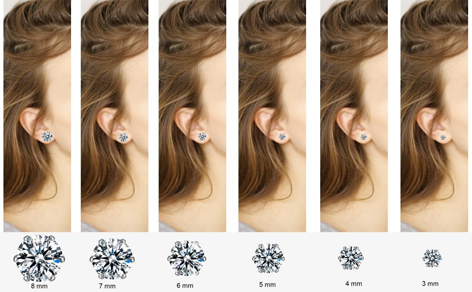 6 size stud earrings