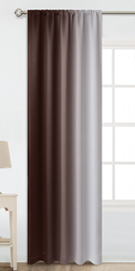 Rod Pocket Greyish White and Brown Ombre Room Darkening Ombre Curtains