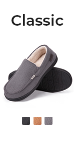 Men's Comfy Suede Memory Foam Moccasin Slippers Warm Sherpa Lining House Shoes Anti-Skid Rubber Sole