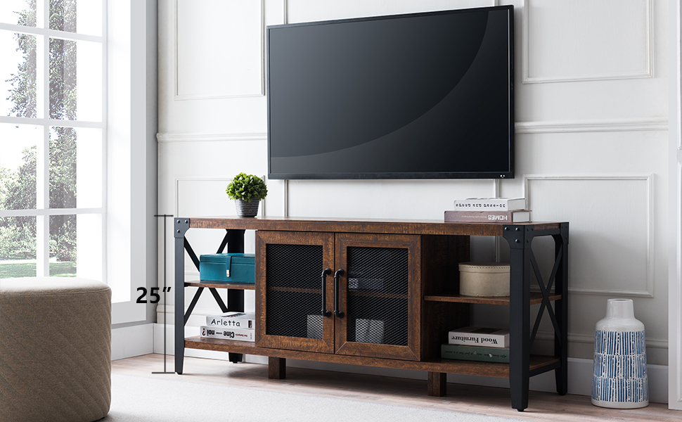 """Industrial Low TV Stand for TVs up to 65 inch, with X Metal Side Frame and 1.57"""" Thick Tabletop"""