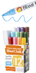 Twelve pack of markers with magic eraser sponge.