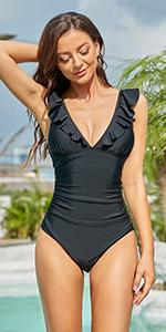 Women Ruffle One Piece Swimsuits Tummy Control V Neck Bathing Suits Monokini for Teen Girls…
