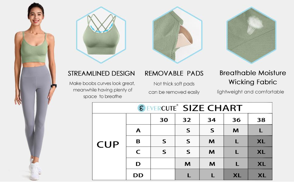 Evercute Long Sports Bra for Women Crop Top Padded Workout Tank Shirts Yoga Fitness Camisoles