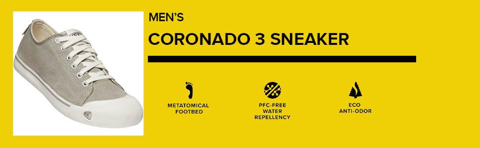 KEEN Men's Coronado 3 Low Height Casual Sneaker comparison chart