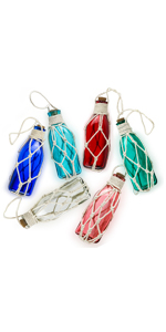 Glass Beach Ornaments Nautical Christmas Ornaments Glass Bottle Float Fishing Ornaments