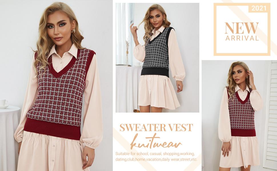 Kate Kasin Women's V Neck Knit Sweater Vest