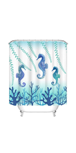 sea horse bathroom curtain