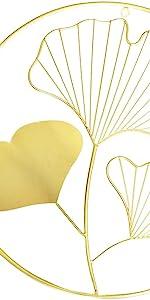 Bellaa Gingko Leaf Metal Wall Art Set of 3 Golden Tone 18 inch
