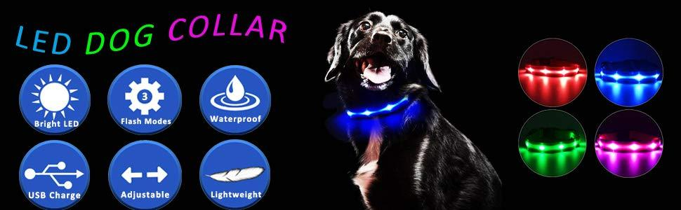 rechargeable led dog collar light up glow in the dark dog collars