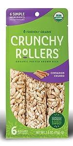 Friendly Grains Crunchy Rollers Churro. Allergen Friendly puffed brown rice snacks.