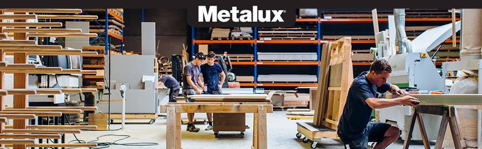 Metalux logo with people working in wood shop