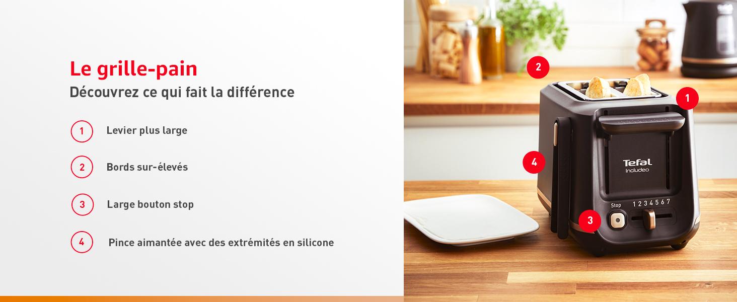 Le grille-pain, découvrez ce qui fait la différence : levier plus large, bords sur-élevés etc..