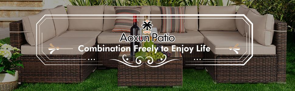 Aoxun 7pcs Patio Sofa Set