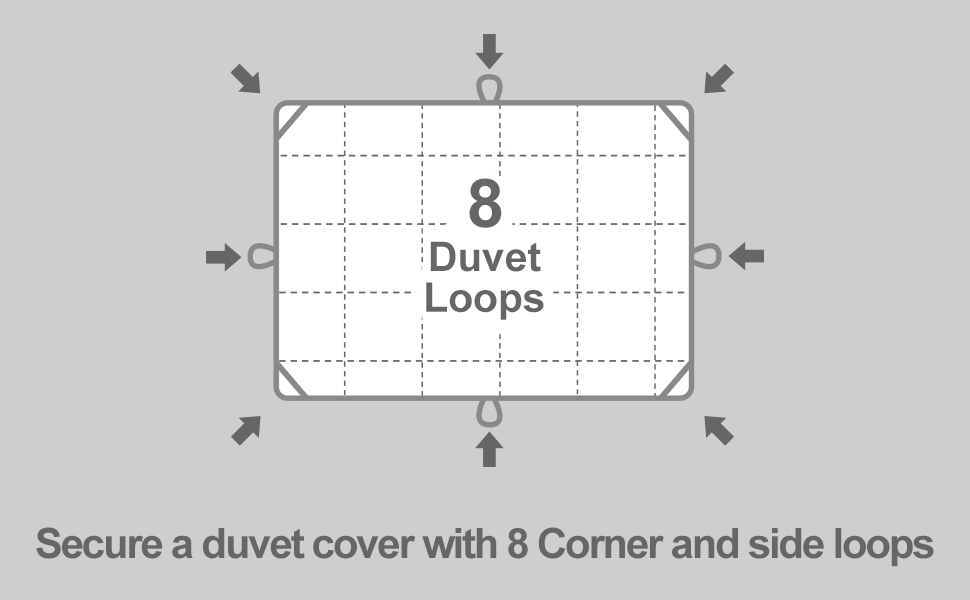 8 Duvet Loops-secure a duvet cover with 8 corner and side loops