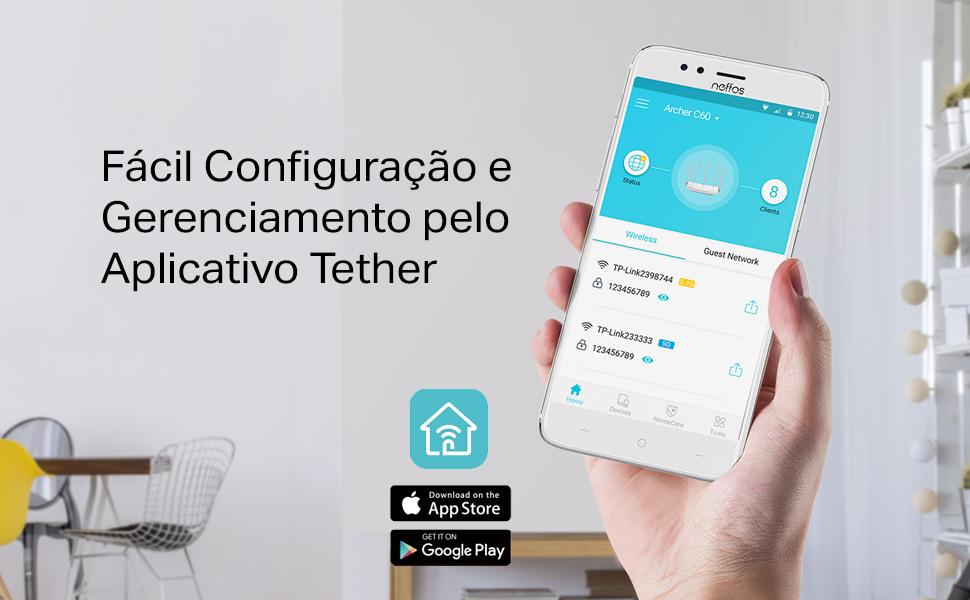 Fácil configuração e gerenciamento pelo aplicativo Tether