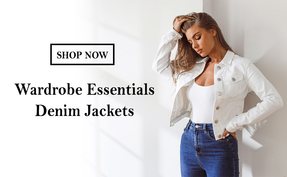 FASHION BOOMY Women's Classic Denim Jean Jacket - Cropped Long Sleeve Outerwear