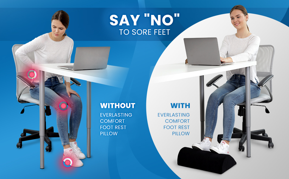 Person sitting in discomfort vs person sitting comfortably while using the desk foot rest