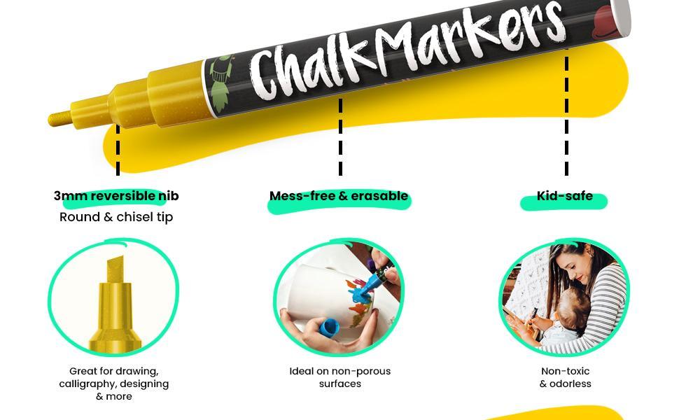Metallic Liquid Chalk Markers Fine Tip - Dry Erase Marker Pen