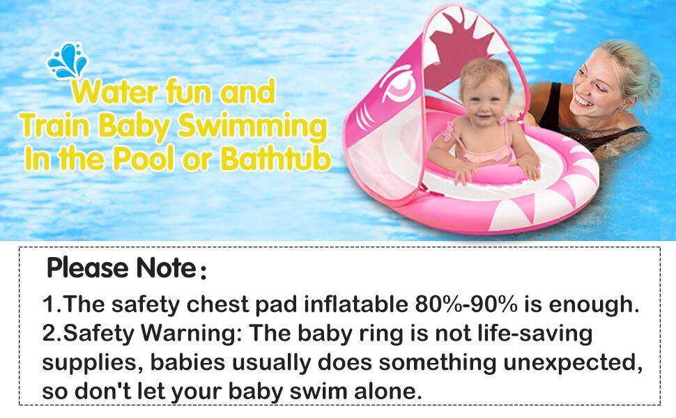 Upgraded Version Small iGeeKid Baby Float Baby Swimming Float with Safety Seat Crotch Strap and Adjustable Waist Strap Swim Trainer for Toddler Infant