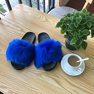 Women's Fur Slides Furry Sliders Fashion Fluffy Slippers Soft Flat Indoor Outdoor Fuzzy Sandals