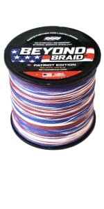 red white and blue braided line