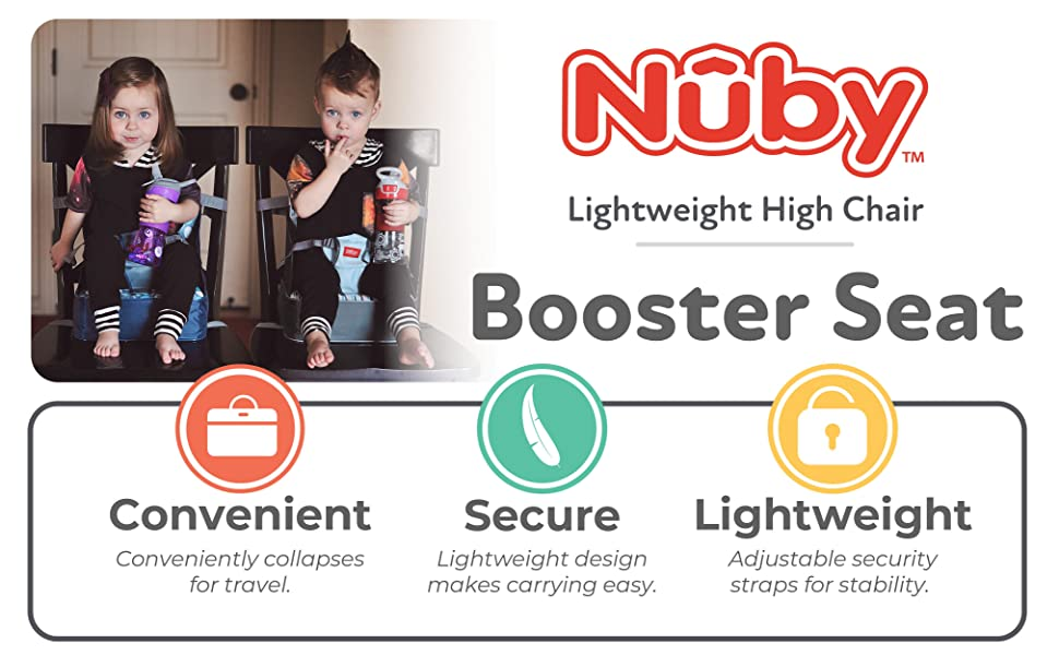 Booster Seat, nuby, seat, lightweight, high chair, travel, fold up, folds, water resistant, seat